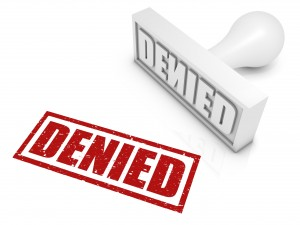 """DENIED"" rubber stamp."