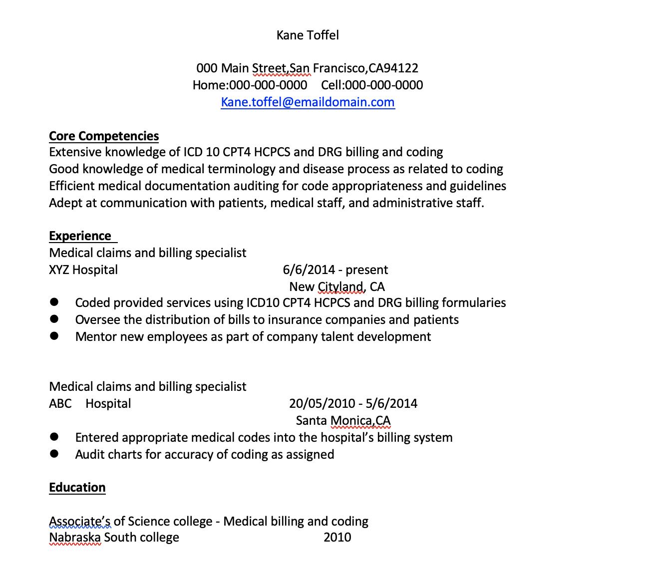 medical billing resume